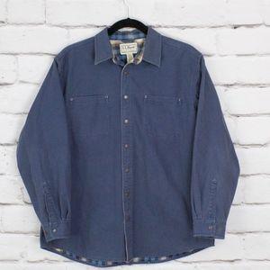 LL Bean Canvas Flannel Lined Snap Shirt Coat XL